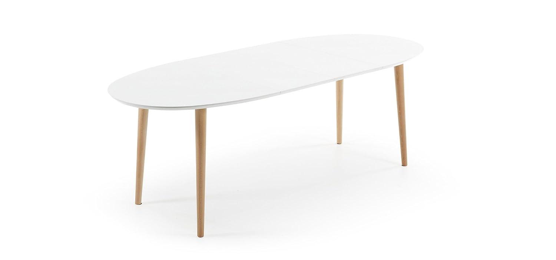 Kave Home Table Oqui ovale extensible 140-220 cm, naturel et blanc ...