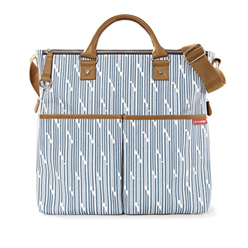 Diaper Dash - Skip Hop Duo Special Edition Carry All Travel Diaper Bag Tote with Multipockets, One Size, Blueprint Stripe