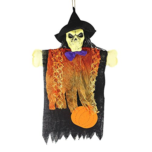 Muranba Halloween Skeleton Witch Scarecrow Decorative Halloween Bar (B) (Guirnalda Happy Halloween)