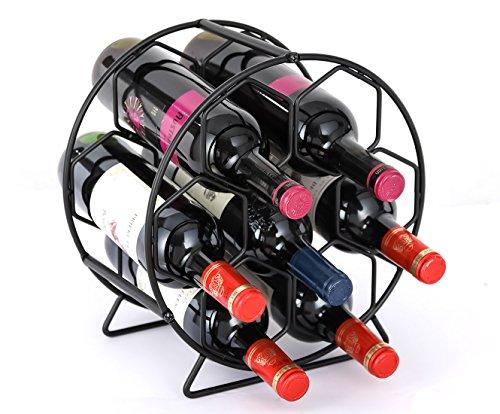 PAG 7 Bottles Countertop Metal Wine Rack Free Standing Tabletop Wine Storage Holders Stands, Black -