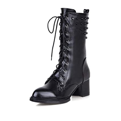 fc3e93ff5 Amazon.com: DETAIWIN Womens Mid Calf Boots Lace Up Square Rivets Punk  Buckle Slip On Low Block Heels Riding Boots: Sports & Outdoors
