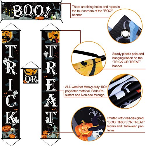 51LTW38ptcL - Chuangdi 4 Pieces Trick OR Treat Banner Halloween
