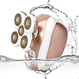 Women's Waterproof Quintuple Heads Hair Removal for Legs Cordless Painless Ladies USB Rechargeable Electric Razor Shaver for Women Body Hair Bikini Trimmer