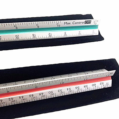 MaxControlDM - Triangular Engineer and Architect Scale Ruler Set - 12 Inch Aluminum Triangular Scale Rulers - Color Coded Scale Ruler Set - PROFESSIONAL GRADE METAL - Aluminum Triangular Scale Rulers by MaxControlDM (Image #3)