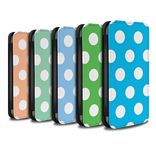 STUFF4 PU Leather Wallet Flip Case/Cover for Apple iPhone X/10 / Pack 10pcs Design / Polka Dot Pattern Collection by Stuff4®