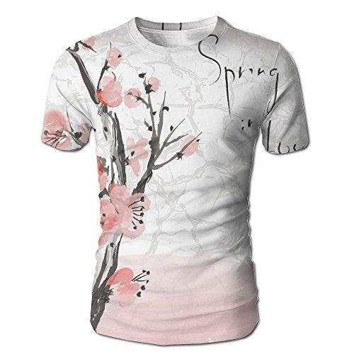 New Mens T-shirt Tree Branch - Kooiico Men's Floral Japanese Cherry Blossom Sakura Tree Branch Soft Pastel Fashion T-Shirts White S