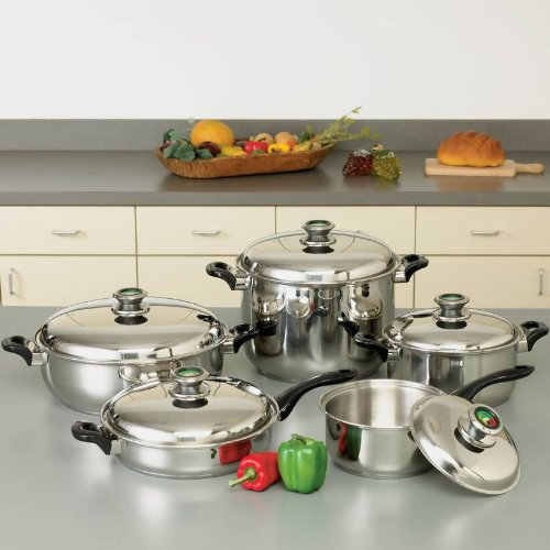 HealthSmart™ 10pc 12-Element ''Waterless'' T304 Stainless Steel Cookware Set with Thermo Control Knobs Home Kitchen Furniture Decor by Health Smart