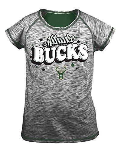 NBA Milwaukee Bucks Children Girls Youth Space Dye Jersey Short sleeve Tee with Team Color Glitter,L,black