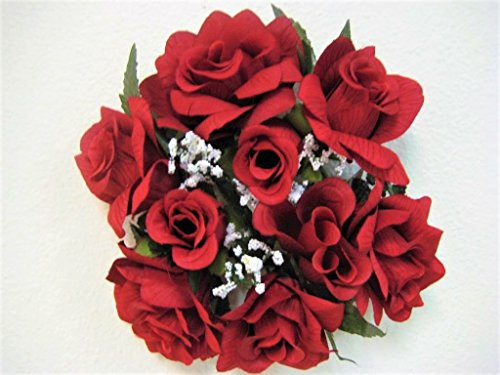 - Phoenix Silk 2 Candle Rings Roses Center Pieces Artificial Velvet Like Flowers 3
