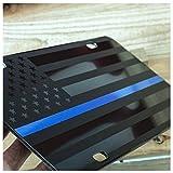 #4: JASS GRAPHIX Thin Blue Line American Flag License Plate Matte Black on 1/8 Black Aluminum Composite Heavy Duty Tactical Patriot USA Car Tag