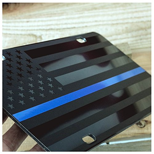 - JASS GRAPHIX Thin Blue Line Subdued American Flag License Plate Matte Black on 1/8