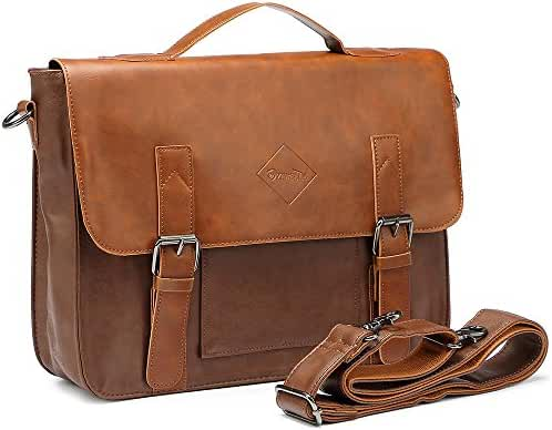 Men Vintage PU Leather Briefcase Laptop Shoulder Messenger Bag Zebella