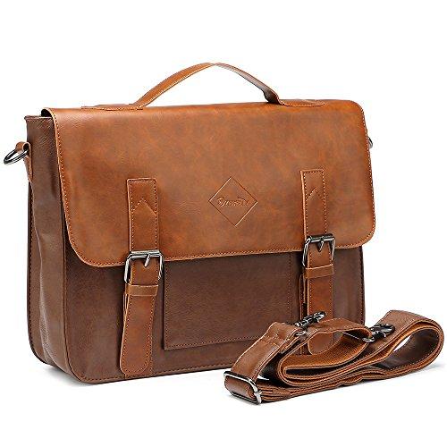 Zebella Vintage Pu Leather Briefcase Shoulder Business Laptop Messenger Bags Tote - Light Brown (Leather Man Bag)