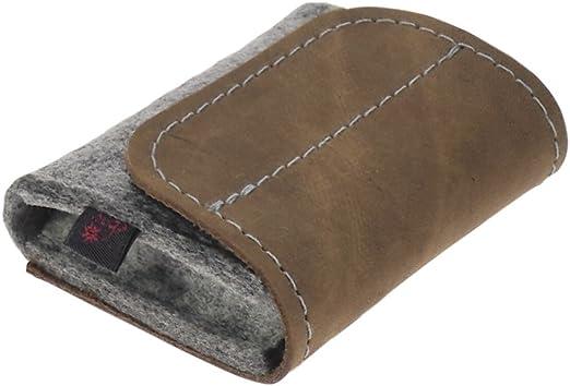 Estuche de medicamentos de ebos ✓ Botiquín de viaje homeopáticos ✓envase para glóbulos fabricado en fieltro de lana y cuero auténtico ✓ 6 lazos para tubos de glóbulos (gris claro/marrón cuero): Amazon.es: