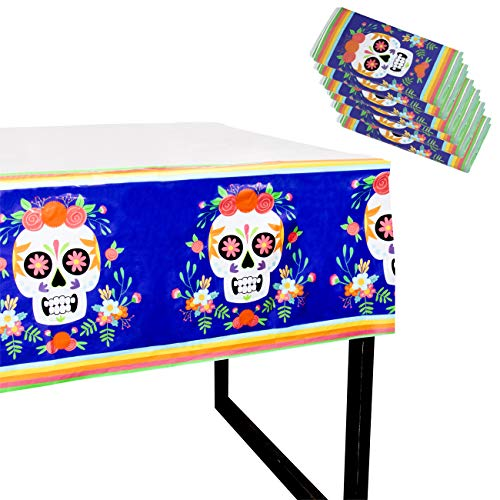 Juvale Day of The Dead Party Tablecloth - 6-Pack Disposable Plastic Rectangular Table Covers - Mexican Party Supplies, Dia De Los Muertos Skull Design, 54 x 108 Inches -