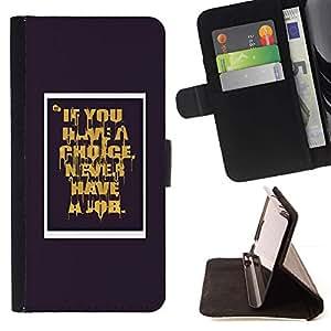 Momo Phone Case / Flip Funda de Cuero Case Cover - Nunca Trabajo cita de motivación - Sony Xperia Z5 5.2 Inch (Not for Z5 Premium 5.5 Inch)