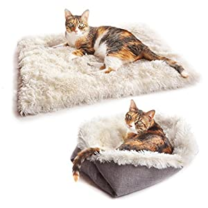 4CLAWS Furry Pet Bed/Mat (Convertible) White/Grey