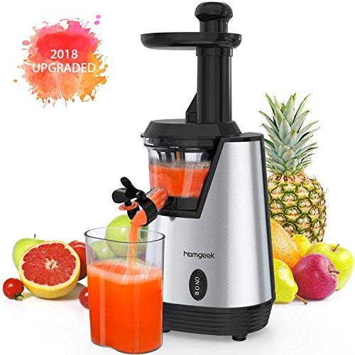 Homgeek Juicer Slow Masticating Juicer Extractor, Cold Press Juicer Machine, Quiet Motor and Reverse Function, with Juice Jug and Brush to Clean Conveniently, High Nutrient Fruit and Vegetable Juice (Sliver) (Best Slow Juicers On The Market)