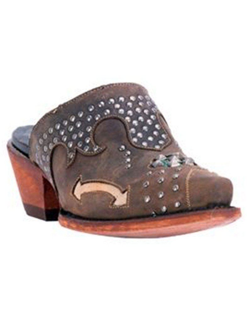 Dan Post Ladies Tan Oiled Clog with Studs Cushion Comfort Insole DPP5099 8 M