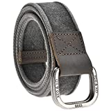 Faleto Mens Canvas Belt Military Style Double D Ring Buckle Solid Color 53.5''Black