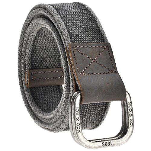 Faleto Mens 53.5'' Double D-Ring Canvas Web Belt Military Casual Belt with Box,#01 Black