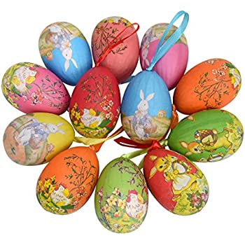 Amazon Com Floral Decorated Hand Painted Easter Egg Home Decor