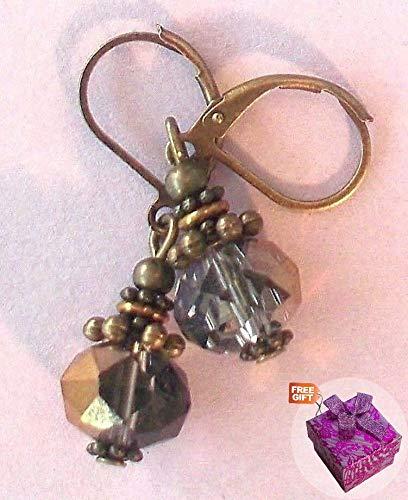 (Bronze Smoke Faceted Crystals Earring Bronze Leverback Artisan Earrings For Women Set + Gift Box For)