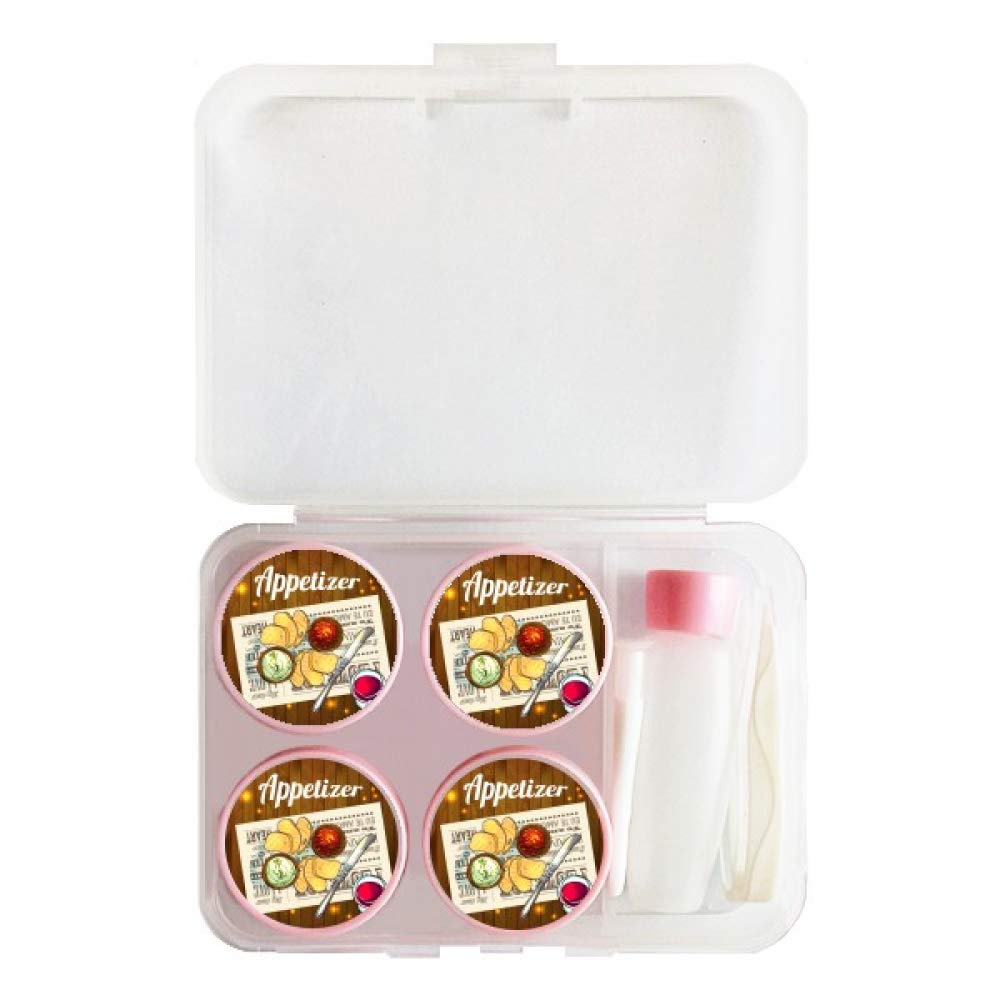 Appetizer Slice of Bread Wine Contact Lens Case Bulk Tweezers Container Holder