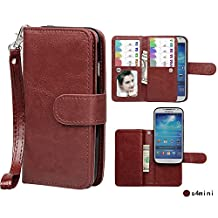 Case for Samsung S4 mini,xhorizon TM SR Premium Leather Folio Case[Wallet Function][Magnetic Detachable]Wristlet Lanyard Flip Book Style Multiple Card Slots Case for Samsung Galaxy S4 mini(I9190)-Coffee