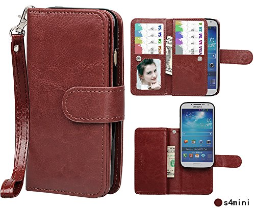 Case for Samsung S4 Mini,xhorizon TM FLK Premium Leather Folio Wallet Magnetic Purse Flip Book Style Multiple Card Slots Cash Case Cover for Samsung Galaxy S4 Mini i9190 (Coffee) -