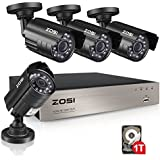 ZOSI 8CH Security Camera System HD-TVI 1080N Video DVR recorder with 4x HD 1280TVL 720P Indoor Outdoor Weatherproof CCTV Cameras 1TB Hard Drive, PC Easy Remote Access (Certified Refurbished)