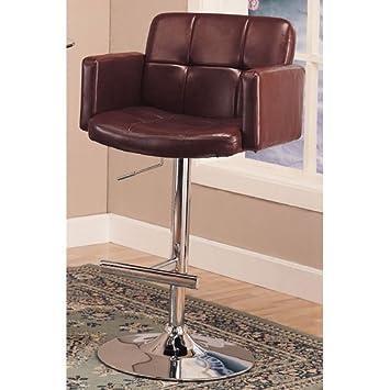 Coaster Home Furnishings Contemporary Adjustable Bar Stool, Chrome/Brown