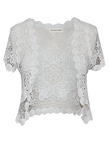 White Floral Lace Crochet Short Sleeve Crop Cardigan