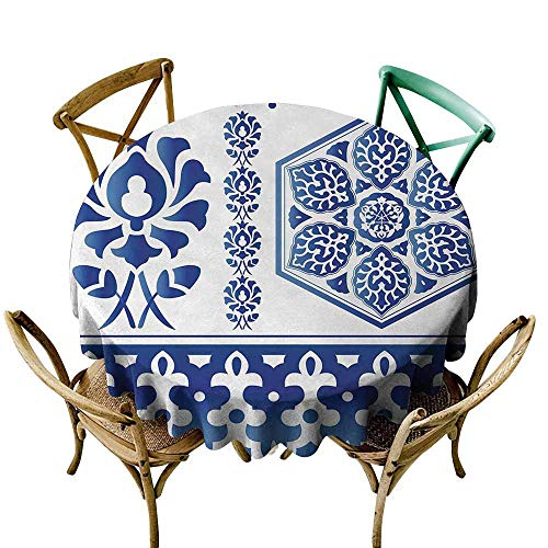 Oncegod Round Outdoor Tablecloth Blue and White Antique Arabesque Art Elements Classic Floral Curves Baroque Revival Motifs for Events Party Restaurant Dining Table Cover 70 INCH Blue White