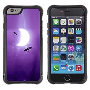All-Round híbrido Heavy Duty de goma duro caso cubierta protectora Accesorio Generación-II BY RAYDREAMMM - Apple iPhone 6 - Bats Art Drawing Purple Moon Crescent
