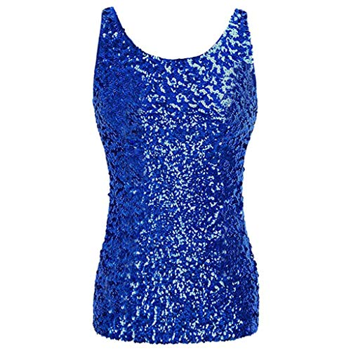 Wintialy Women Shimmer Glam Sequin Embellished Sparkle Play Tank Top Vest Tops ()