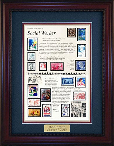 American Stamp Art by Creative Framing Social Worker - Unique Framed Collectible (A Great Gift Idea) with Personalized Engraved (Collectible Gift Plate)