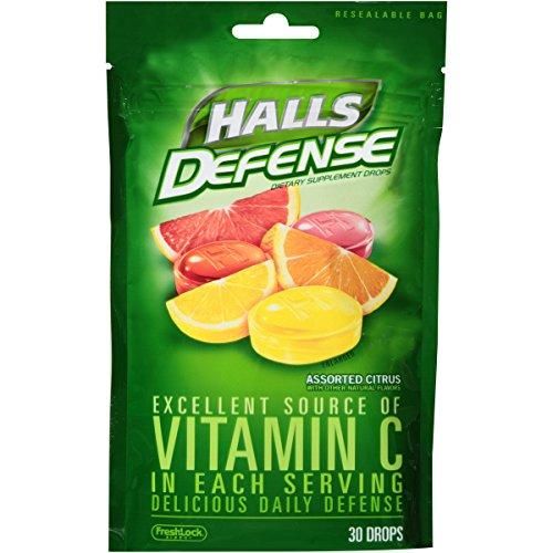 Halls Defense Citrus Vitamin C Drops - 360 Drops (12 bags of 30 drops)
