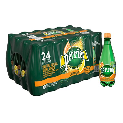 Perrier L'Orange Flavored Carbonated Mineral Water (Lemon Orange Flavor), 16.9 fl oz. Plastic Bottles (24 Count)