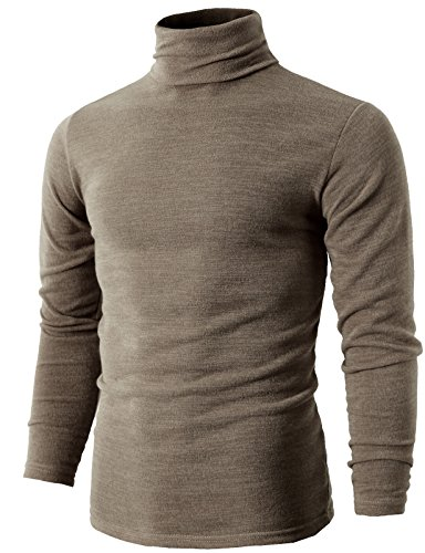 - H2H Mens Basic Knitted Turtleneck Pullover Sweater Beige US M/Asia XL (KMTTL028)