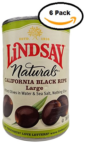 Lindsay, Naturals, Black Ripe Olives Pitted, 14.5oz Can (Pack of 6)