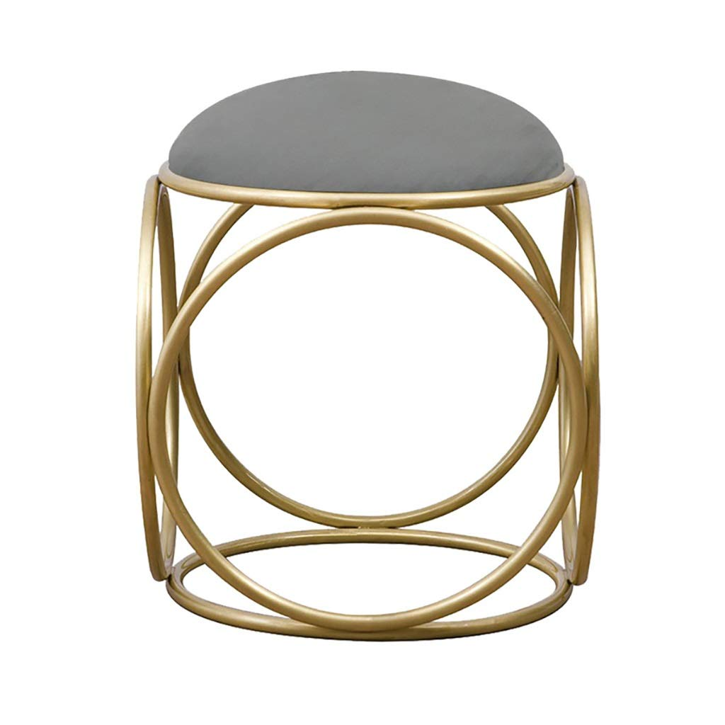 D WENJUN Small Stool Nordic Dressing Stool Simple Bedroom Dressing Table Stool Living Room Round Stool Suede Makeup Chair Fashion Creative Nail Chair (color   C)