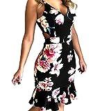 Yaseking Women's Party Dress, Sexy Print Sleeveless Slim Hole Camisole Mini Dress Summer Dress (S, Black)