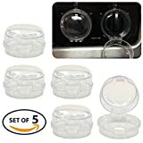 Universal Child Safety Stove Knob Covers Stove Lock for Child Proofing Gas Range Gas Stove Knob Covers Oven Door and More | 5-Pack Stove Burner Covers (Clear) for Kitchen
