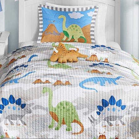 Mi-Zone Kids Little Foot Twin Bedding Sets Boys Quilt Set - Grey, Blue, Orange, Dinosaur – 3 Piece Kids Quilt for Boys – Cotton Filling Ultra Soft Microfiber Quilt Sets Coverlet by Mi-Zone (Image #4)