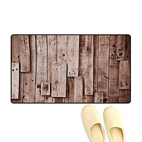 - Bath Mat,Vintage Barn Shed Floor Wall Planks Sepia Art Old Natural Plywood Lodge Image Print,Door Mat Outside,Grey Brown,32