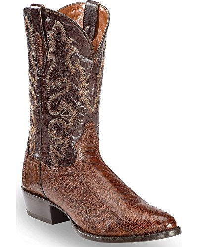 Dan Post Men's Brass Ostrich Leg Cowboy Boot Medium Toe Dark Brown 9.5 D