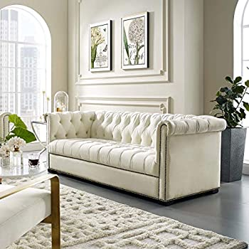 Modway Heritage Tufted Velvet Modern Chesterfield Sofa with Nailhead Trim In Ivory