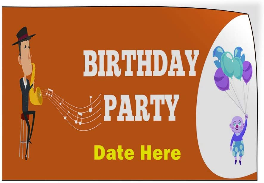 Custom Door Decals Vinyl Stickers Multiple Sizes Birthday Party Date Here Holidays and Occasions Happy Birthday Outdoor Luggage /& Bumper Stickers for Cars Orange 42X28Inches Set of 5