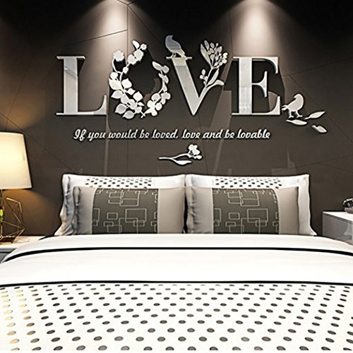 - Handfly 3D Acrylic Love Letter Mirror Wall Stickers Removable Flower Birds Wall Art Sticker Decor Wall Poster Living Room Home Decoration